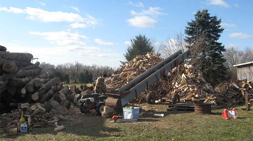 Beginning days of firewood processing